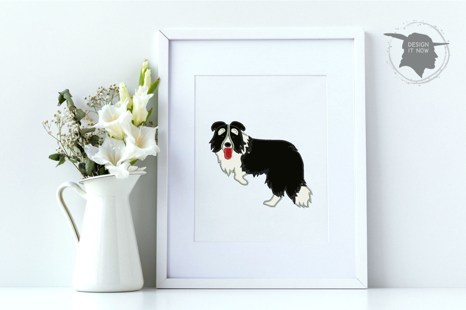 Dog Applique Embroidery Design, Border Collie Embroidery example image 7