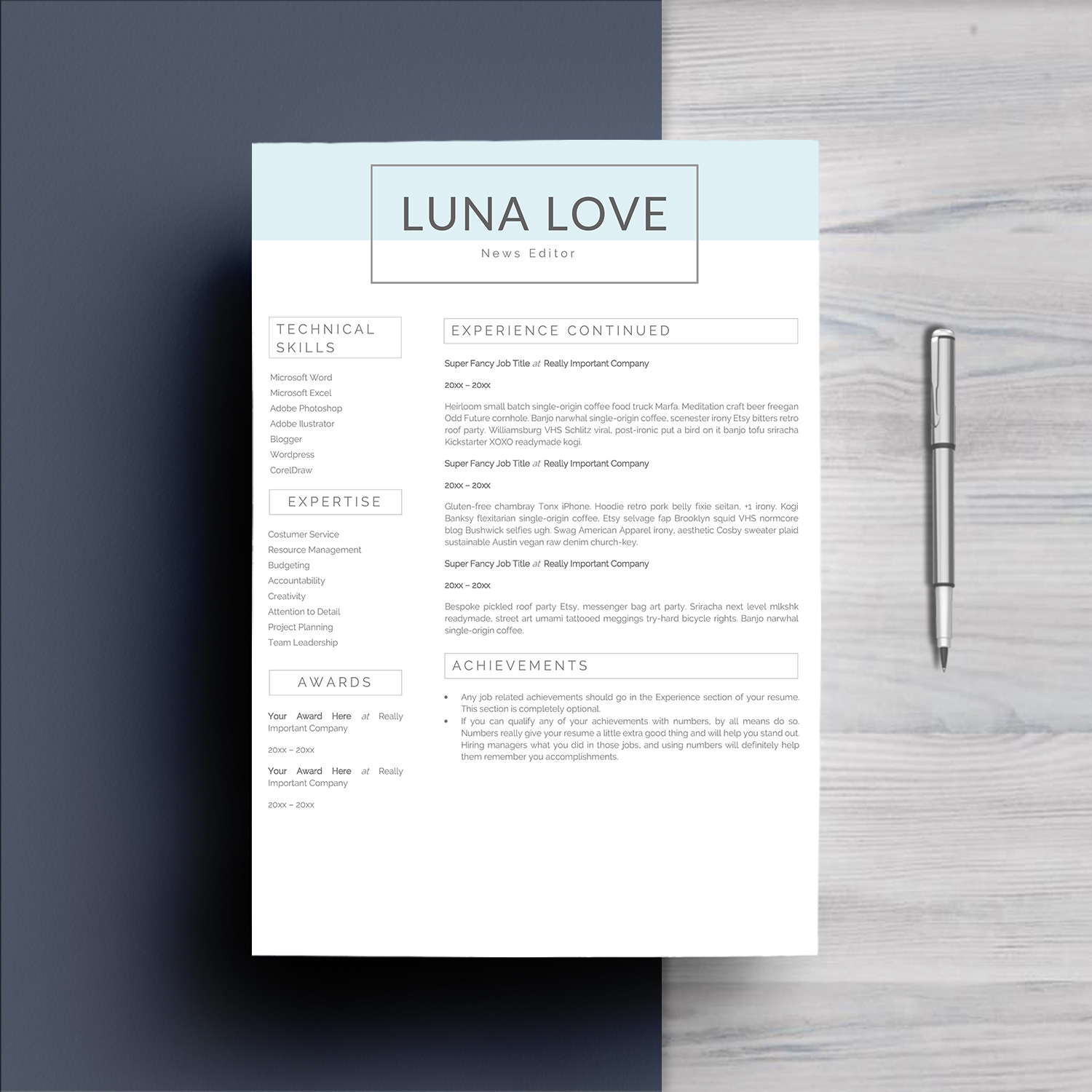 Professional 4 Pages Resume Template example image 3