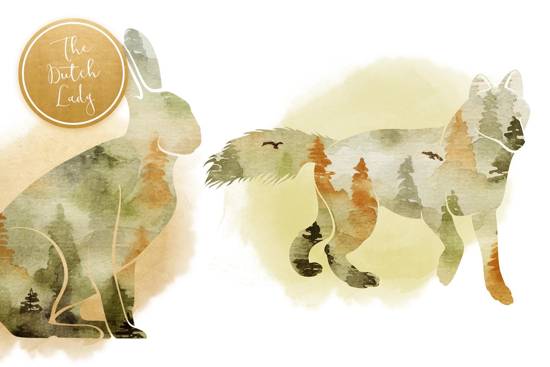 Forest Animal Boho Autumn Clipart Set example image 3