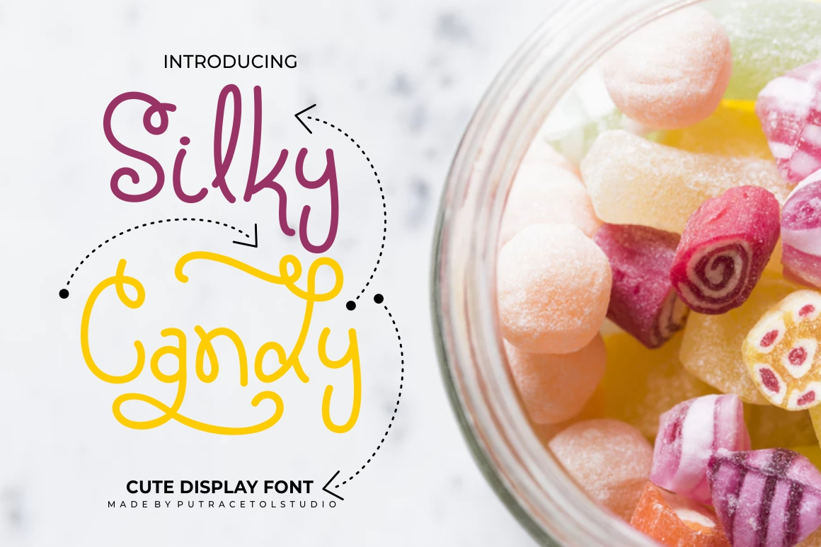 Silky Candy - Cute Sweet Font example image 1
