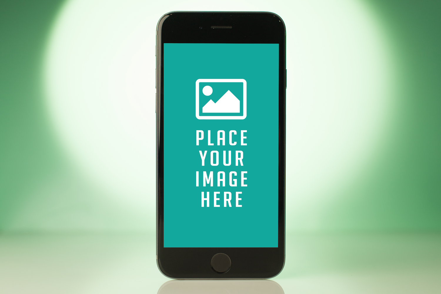 Standing Smartphone on green blur background example image 1