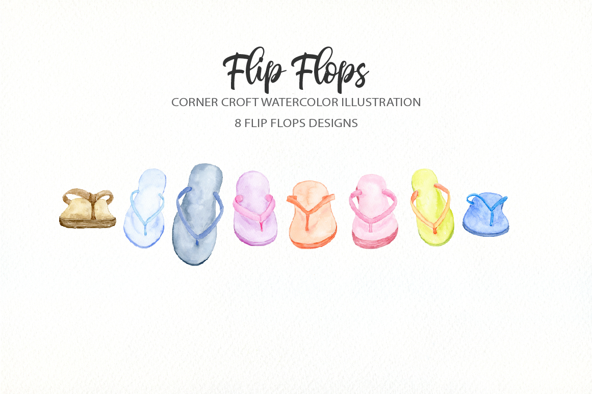 Watercolor flip flops clipart for instant download example image 4