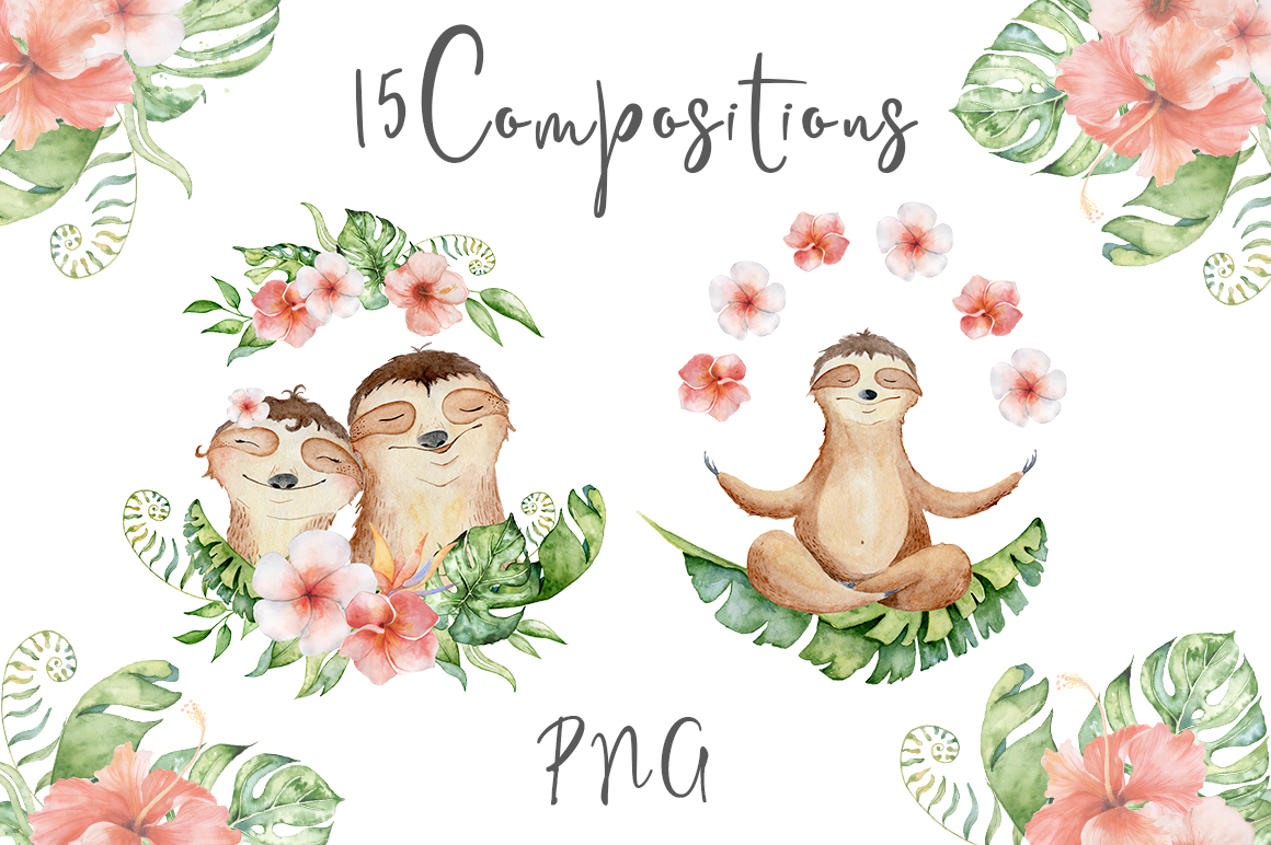 Lovely Sloths Watercolor set example image 6