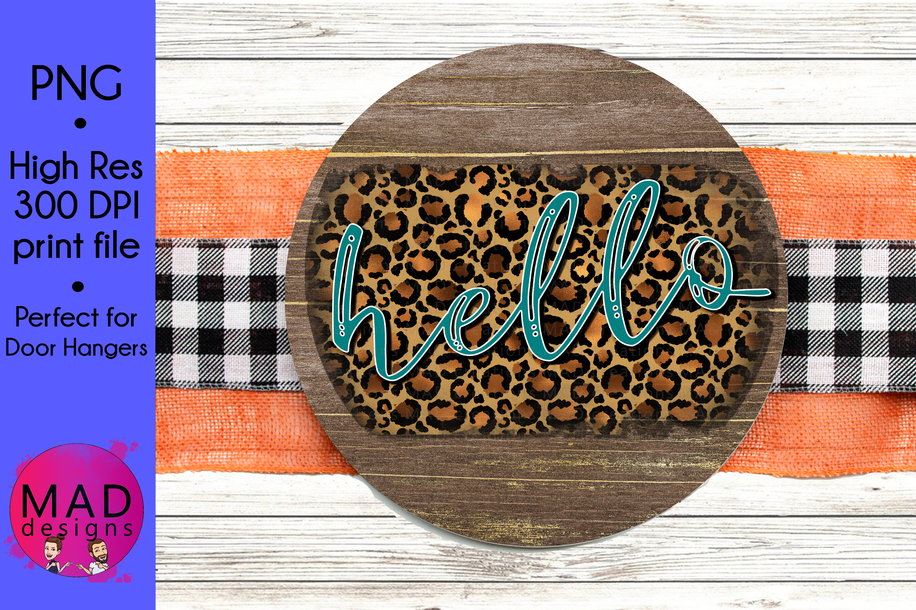 Hello - Leopard Print and Teal - Round Door Hanger Sign example image 1