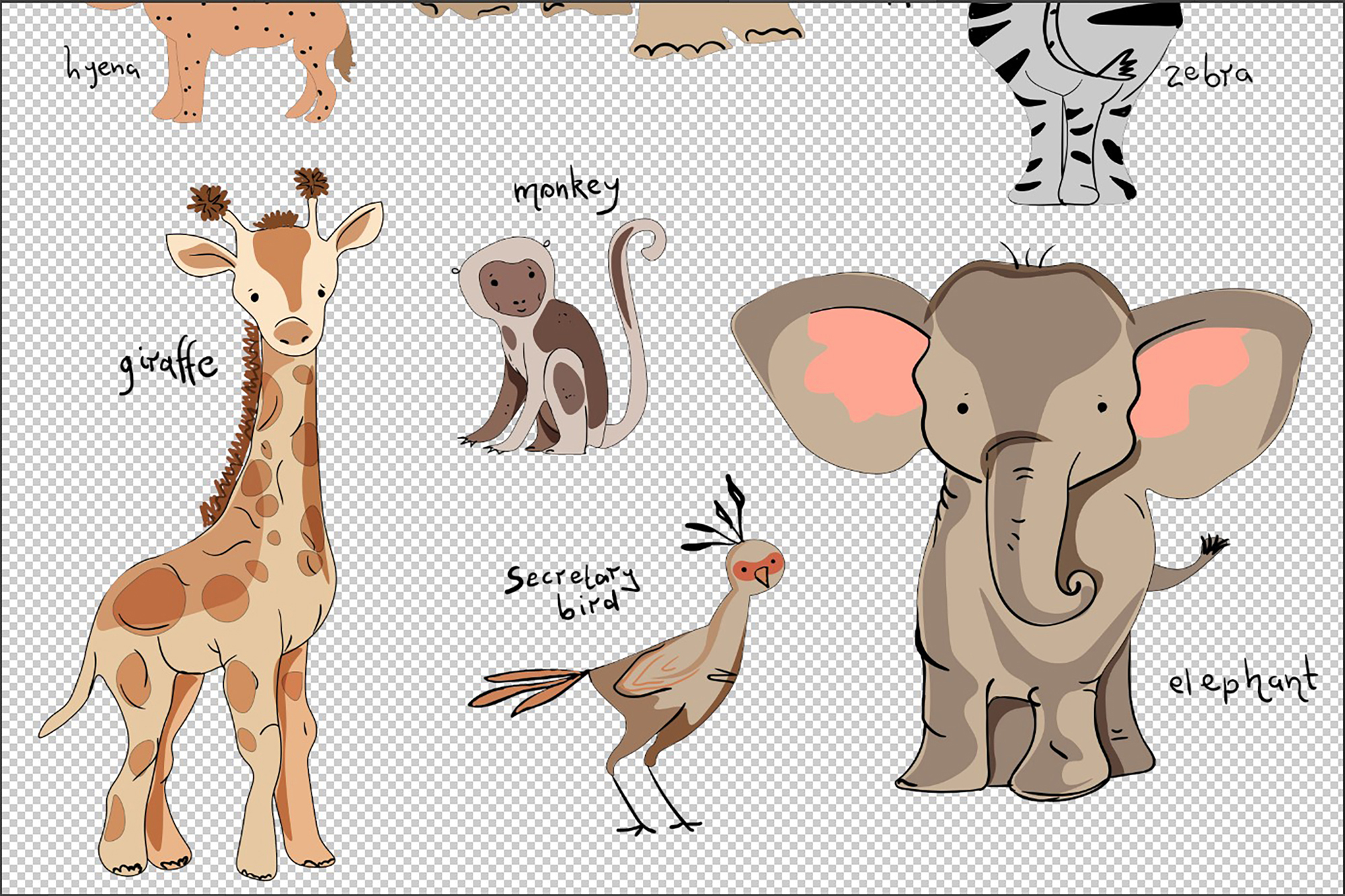 Set of cute funny little animals clipart example image 5