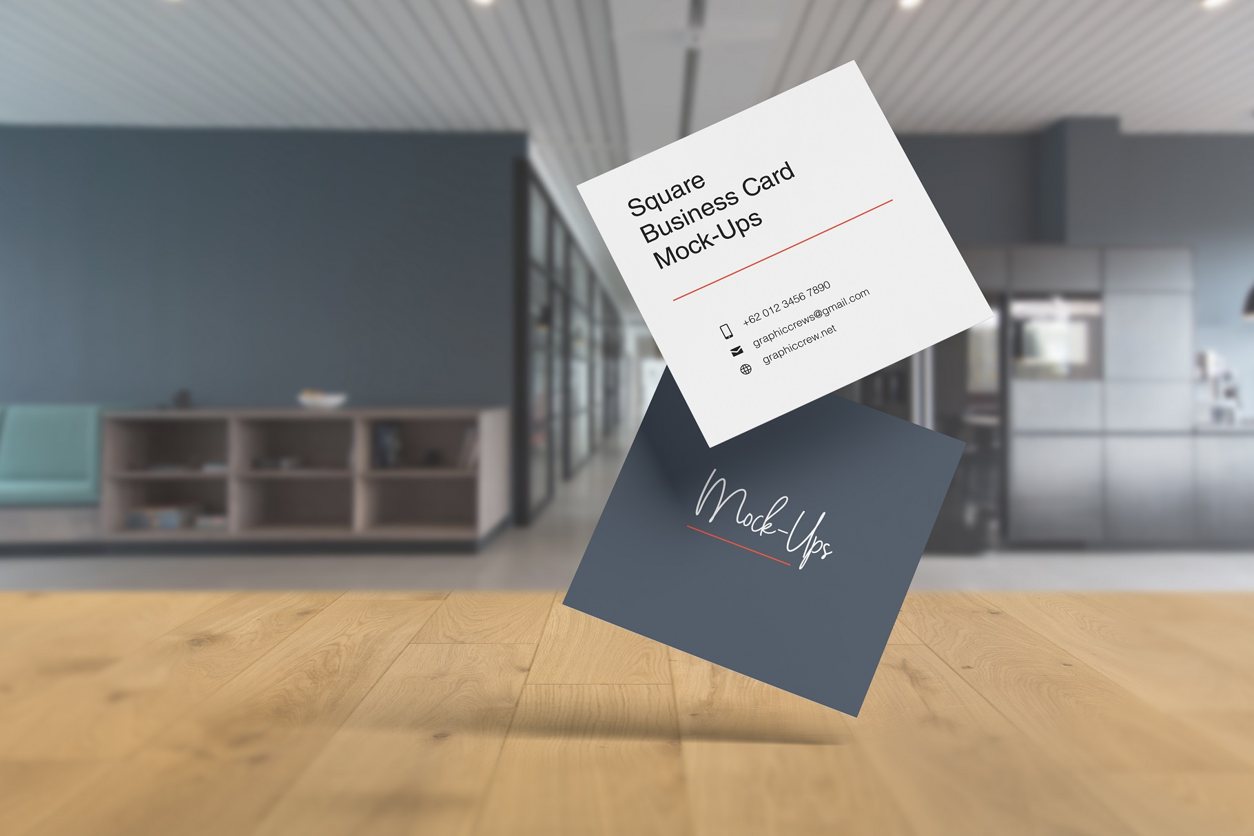 Square Business Card Mockup example image 5