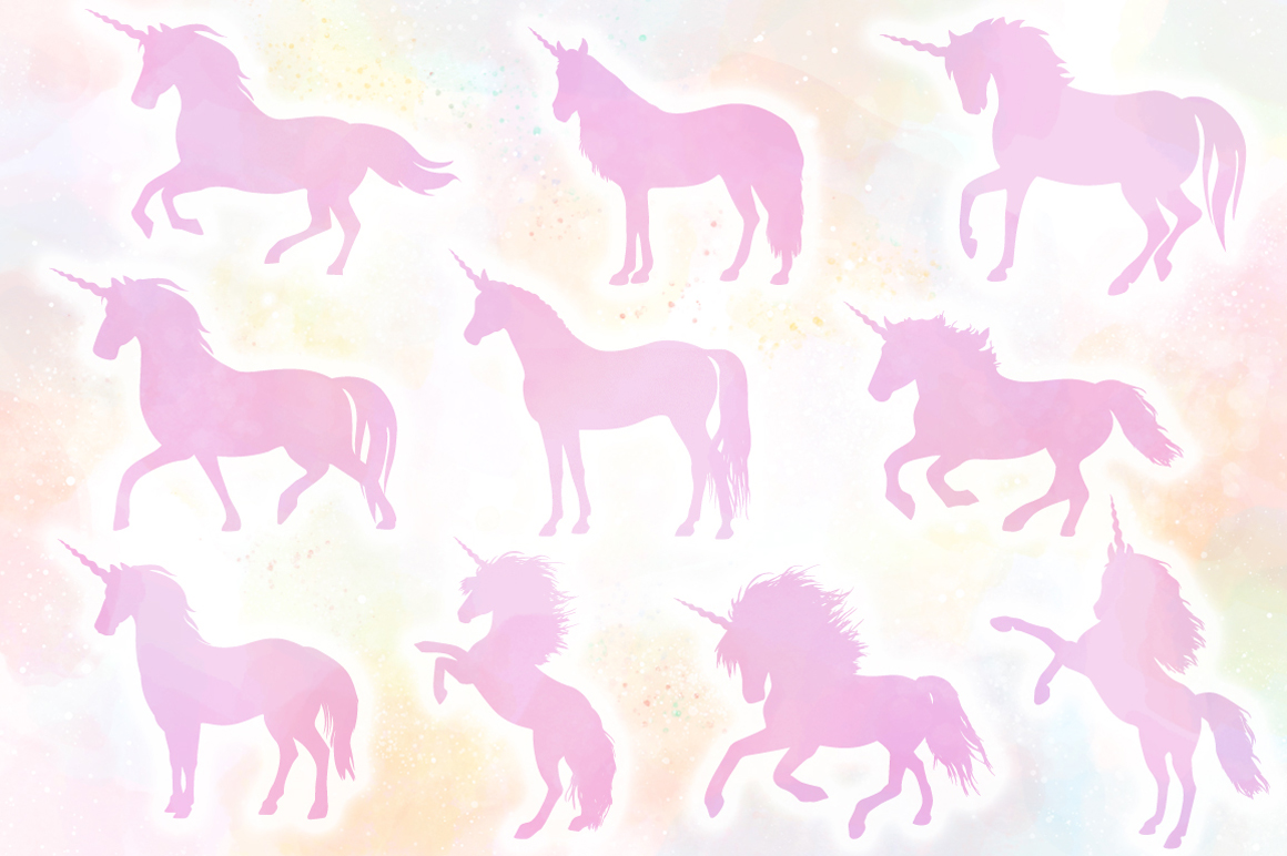 Unicorn Silhouettes SVG Cut Files Pack example image 2