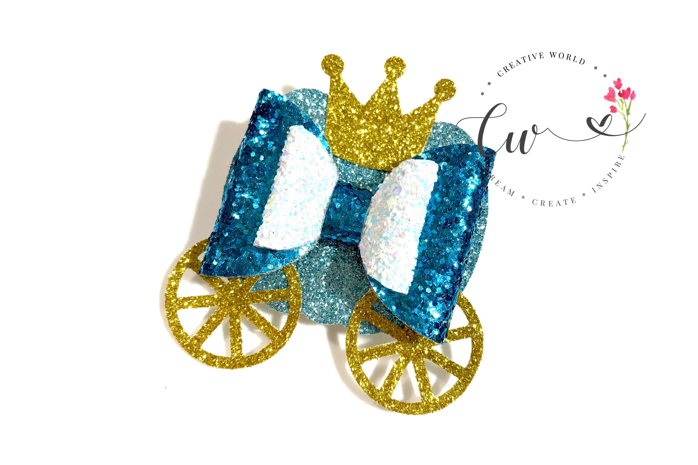 Princess Pumpkin Carriage Hair Bow Digital Template example image 2