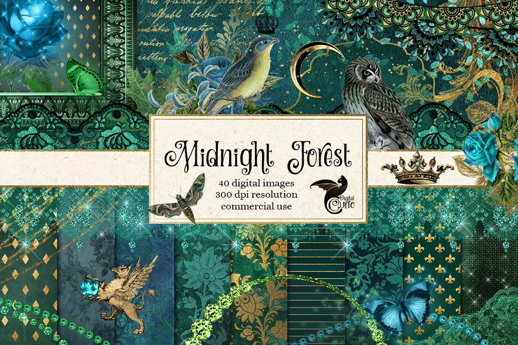 Midnight Forest Digital Scrapbooking Kit example image 1