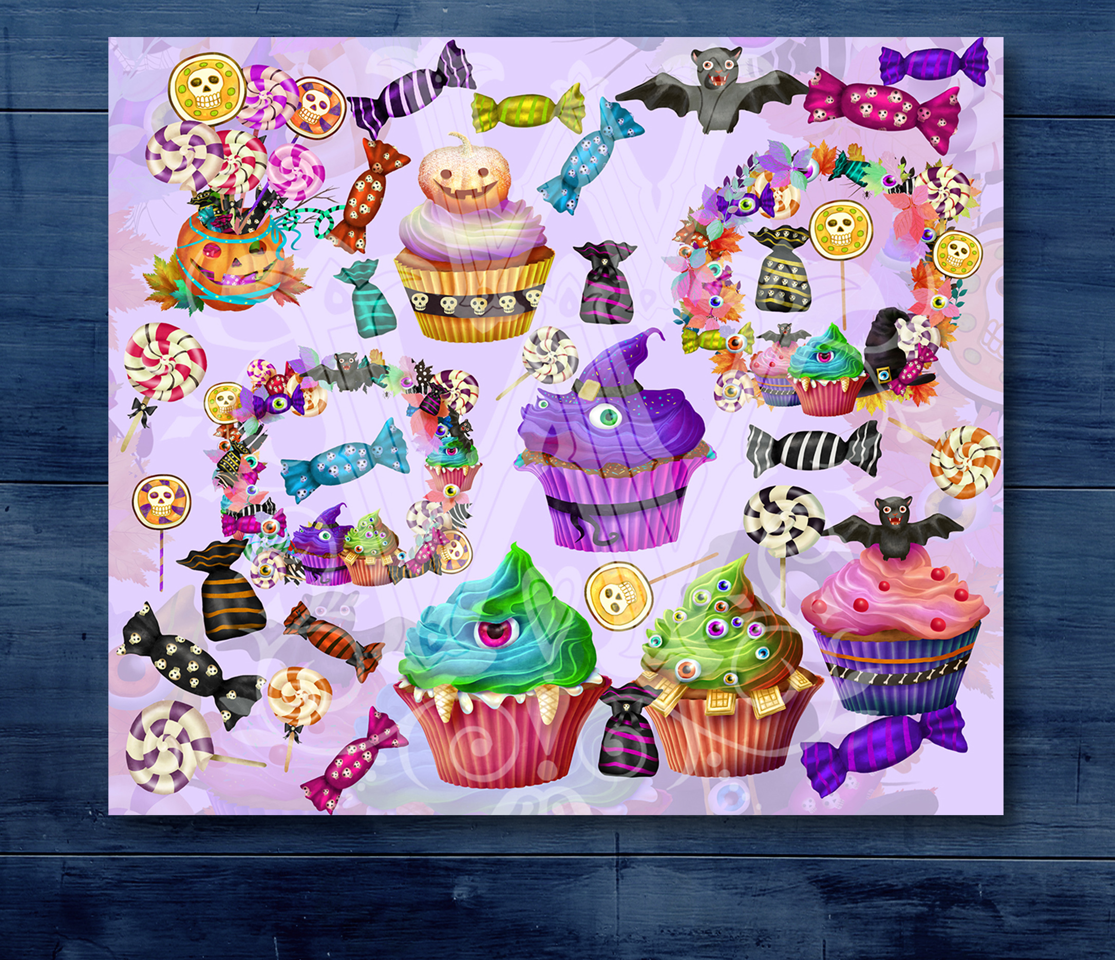 Cute Halloween monster sweets clipart set with wreath example image 2
