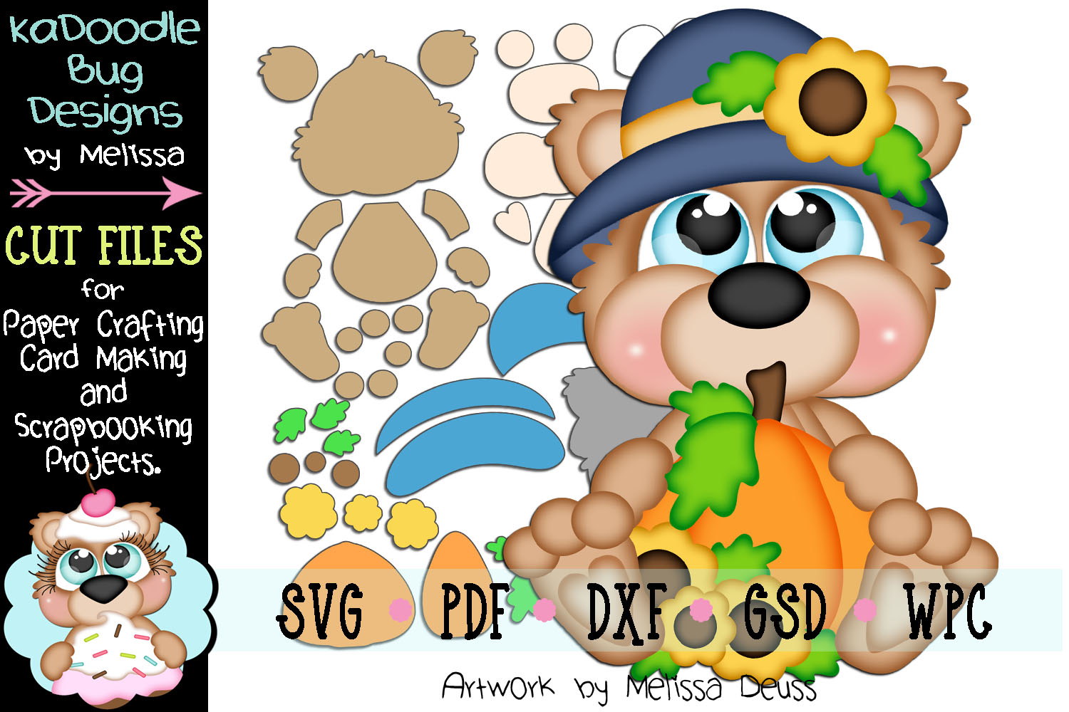 Precious Autumn Bear Cut File - SVG PDF DXF GSD WPC example image 1