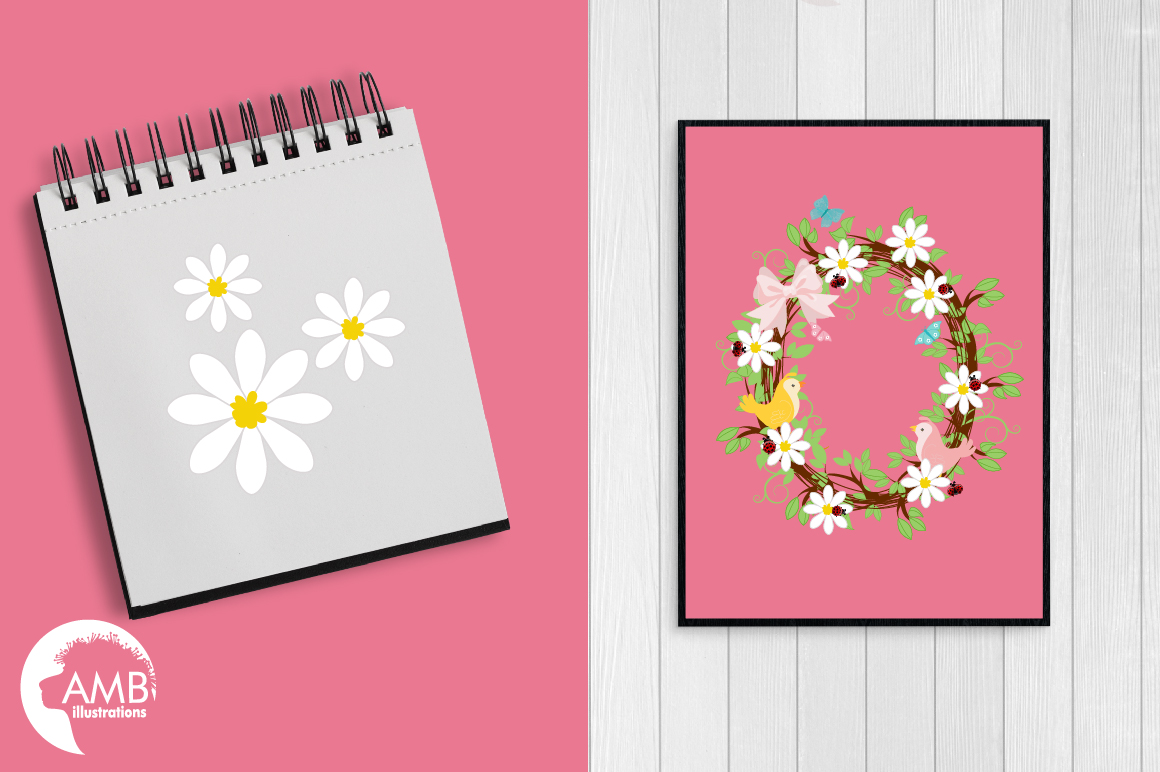 Baby girl shower, Floral wreath clipart example image 2