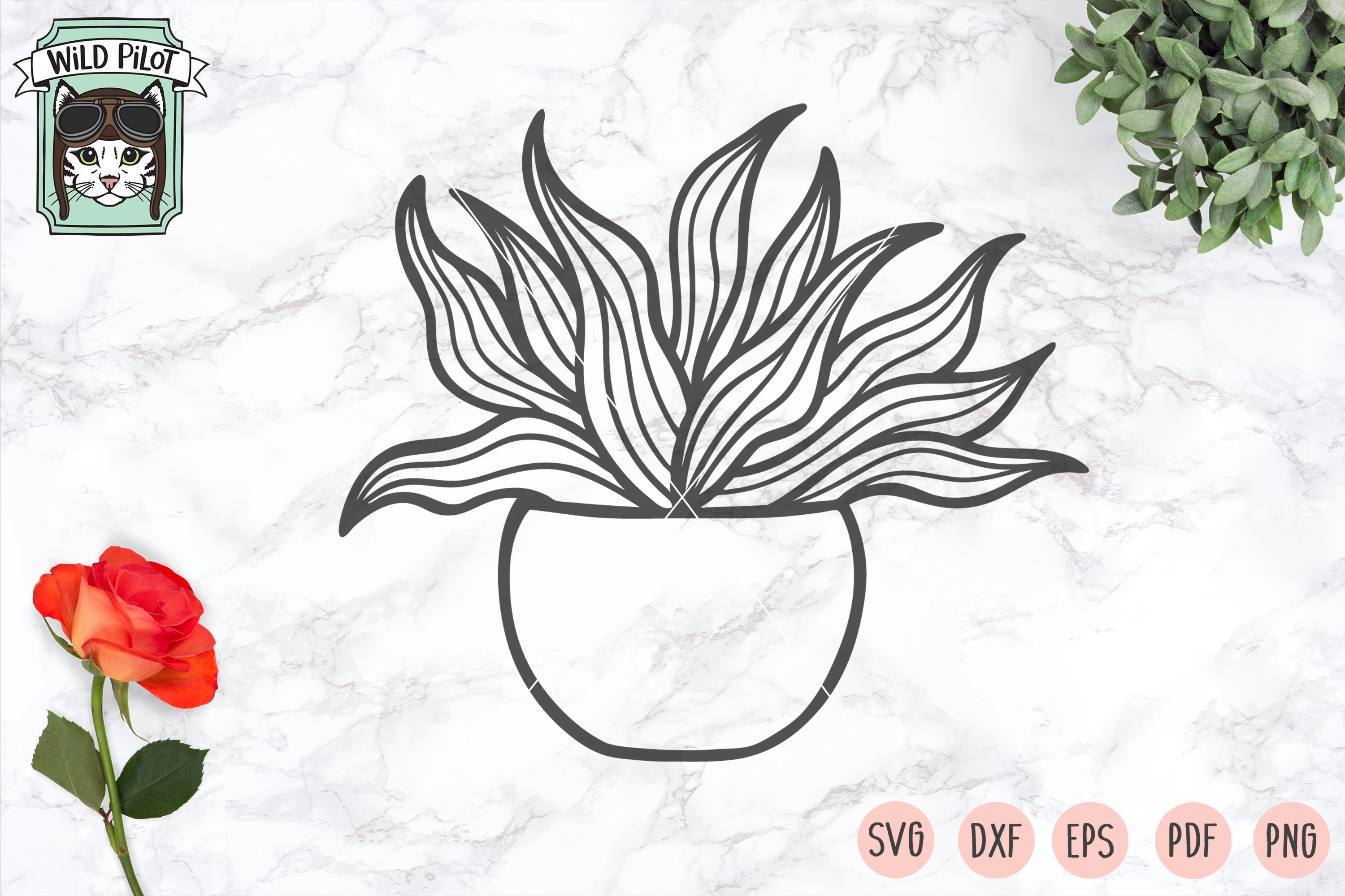Plants SVG files, Potted Plants cut files, Planters, Garden example image 4