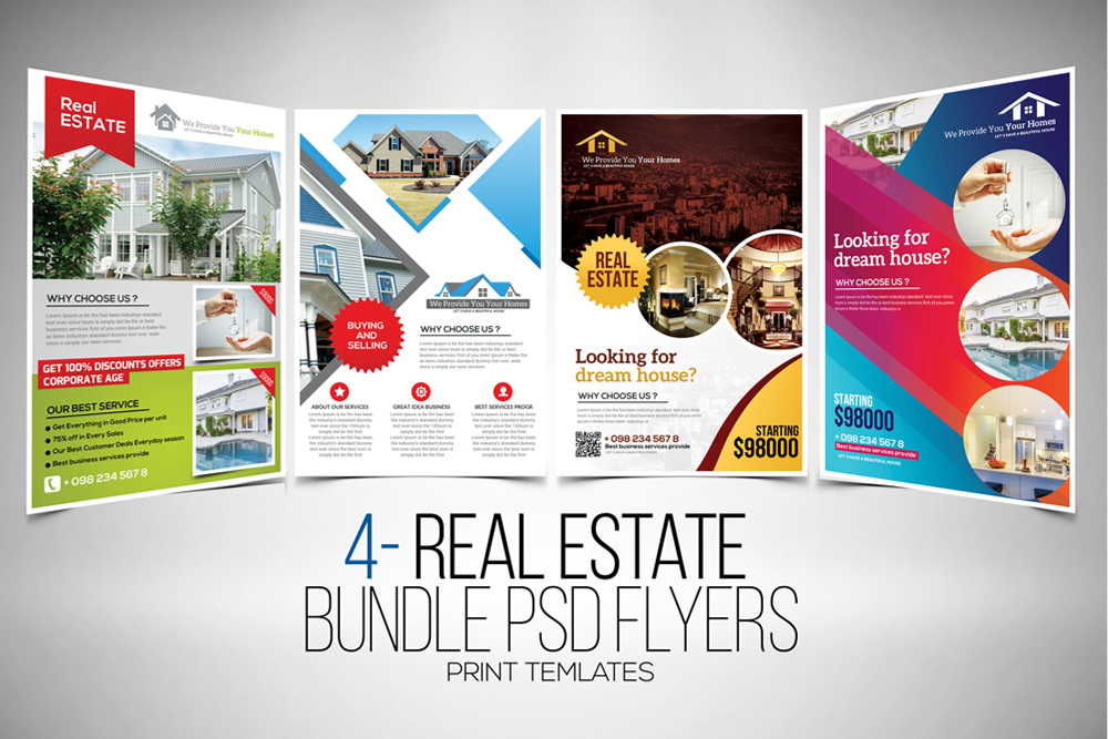 4 Real Estate Flyers Bundle example image 1