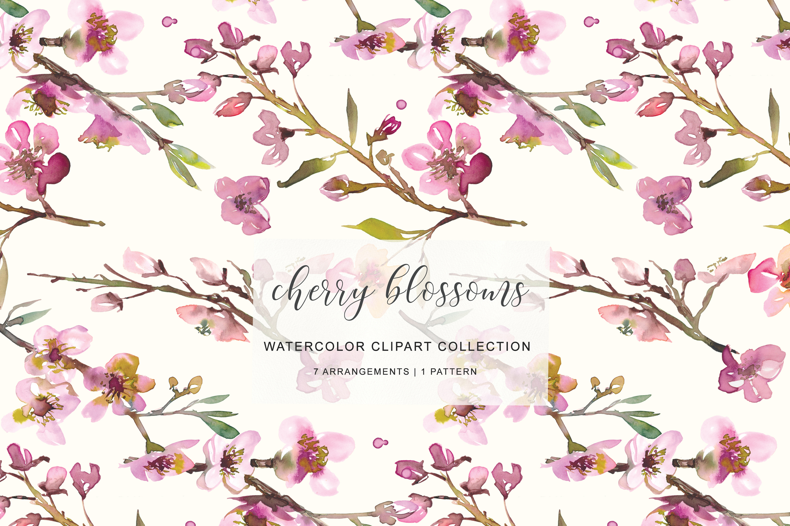 Hand Painted Watercolor Pink Cherry Blossoms example image 3