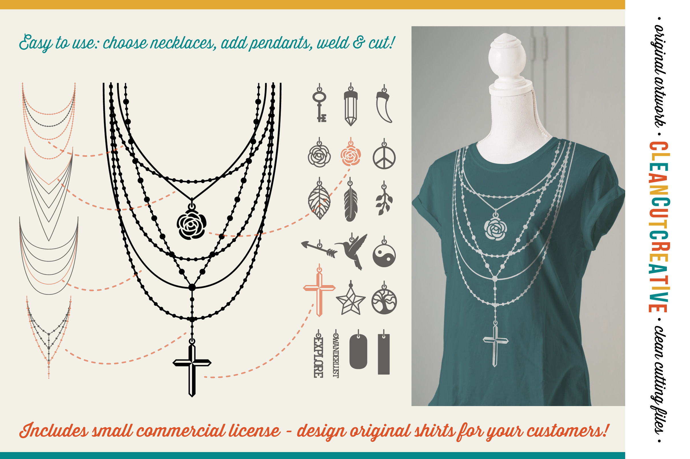 The Nifty NECKLACE TOOLKIT -  DIY Layered Necklace T-shirt Design in Boho/Ibiza Style example image 4