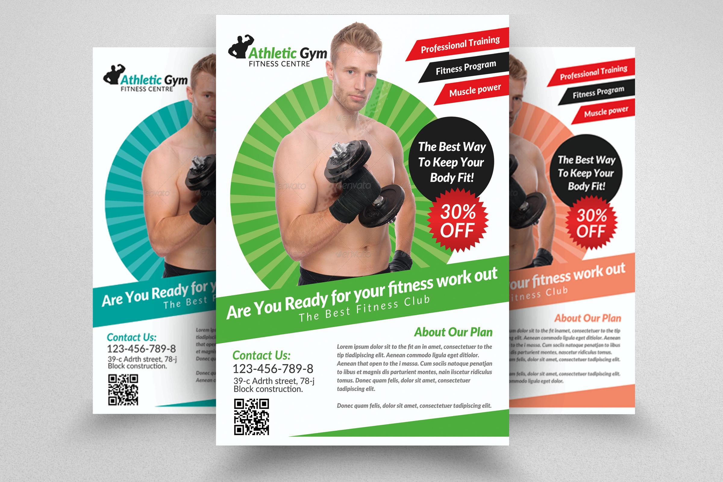 6 Body Fitness Gym Flyers Bundle example image 4