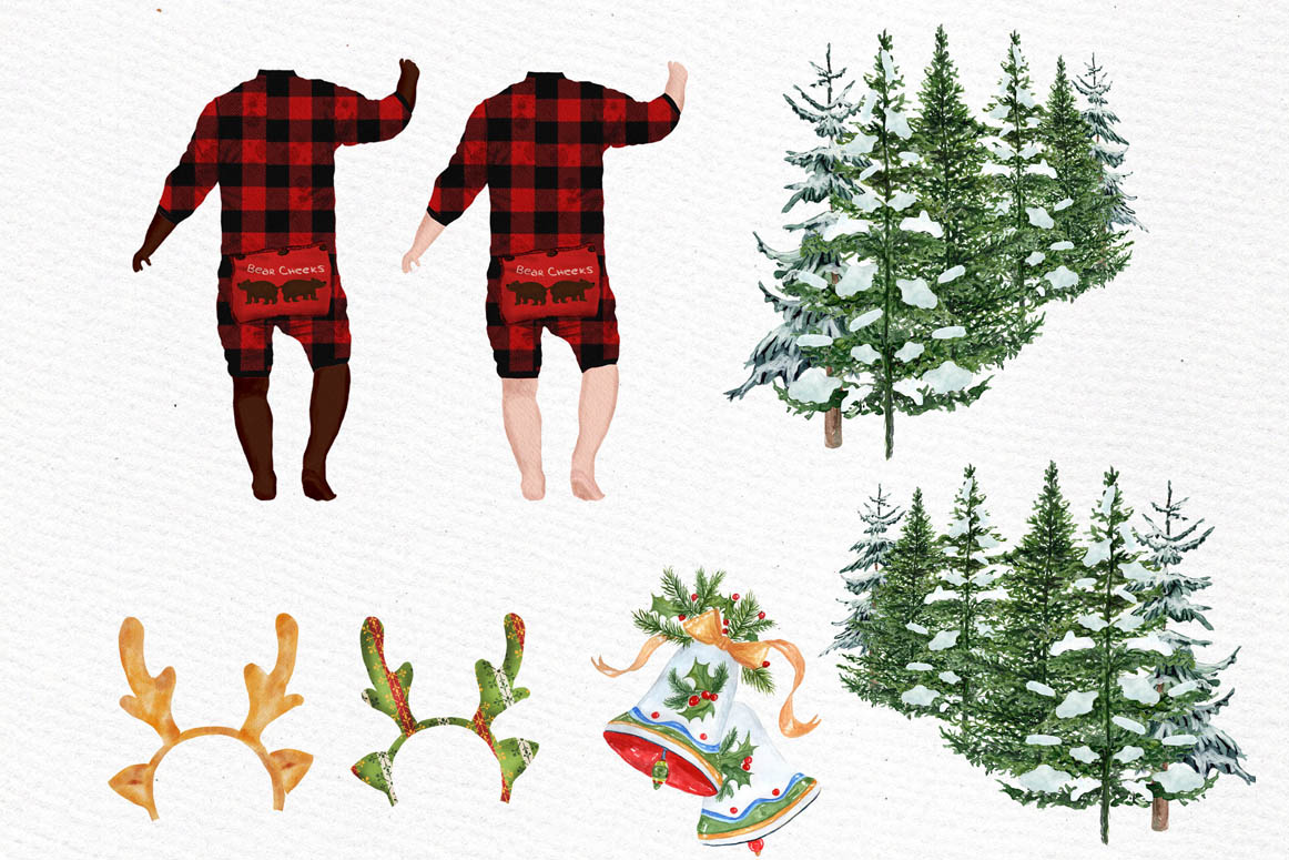 DOGS CLIPART, Baby clipart, Christmas clipart, Buffalo Plaid example image 6