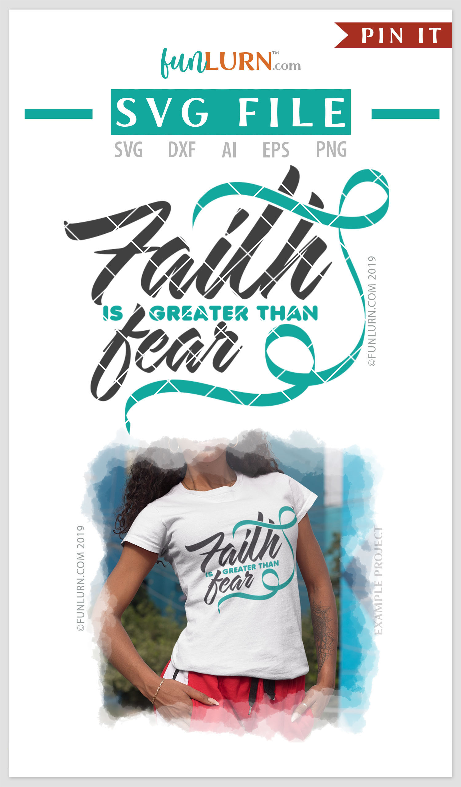 Faith is Greater Than Fear Teal Ribbon SVG Cut File example image 4
