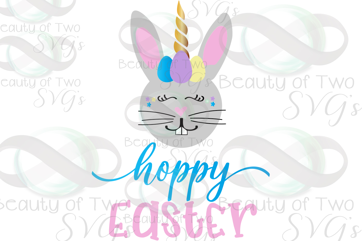 Hoppy Easter Unicorn Bunny svg & png, Kids Easter svg, example image 2
