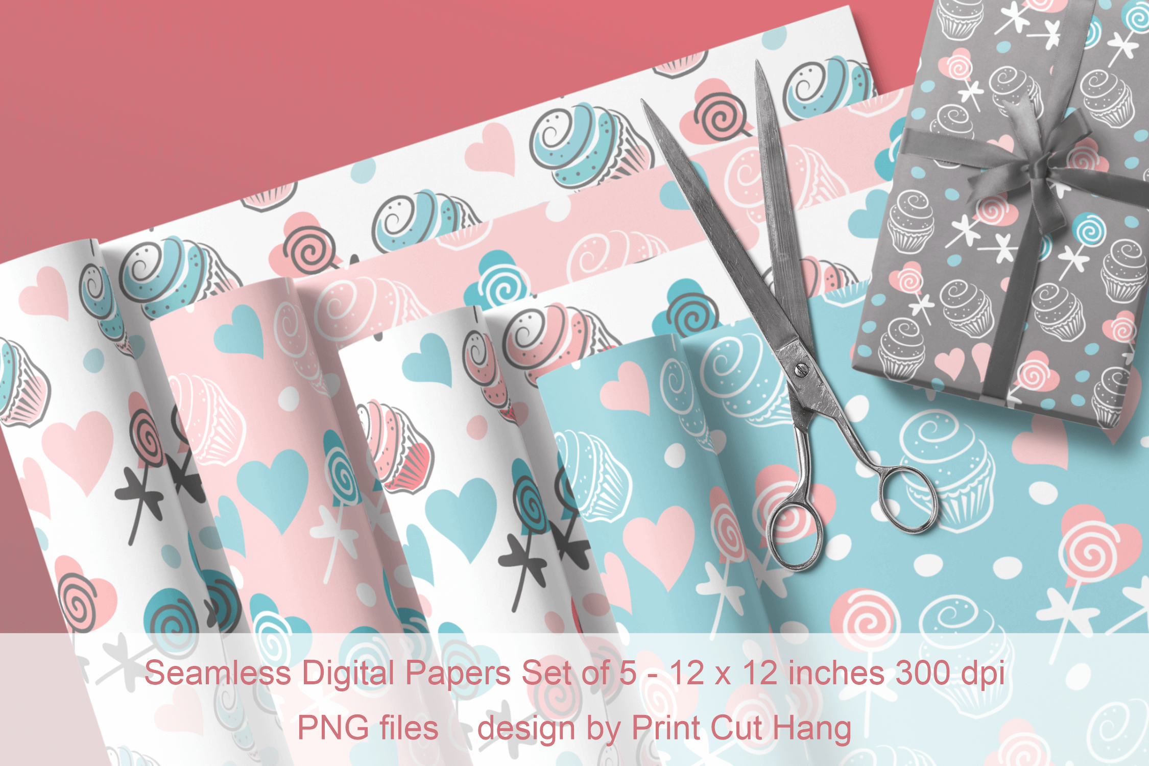 Cupcakes and Donuts Seamless Scrapbooking Papers 10 PNG file example image 7
