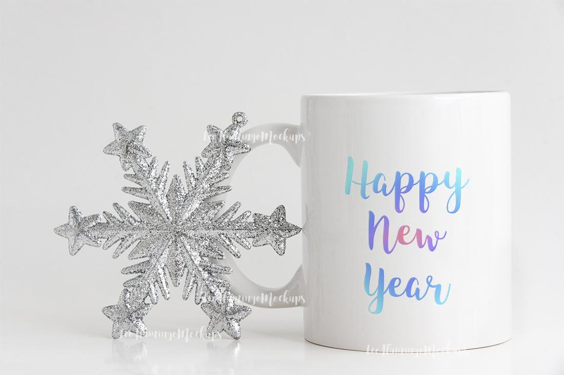 Winter white coffee mug mock up minimal  example image 7