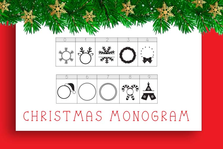 Christmas Mono, a font with frames of Christmas monograms example image 5