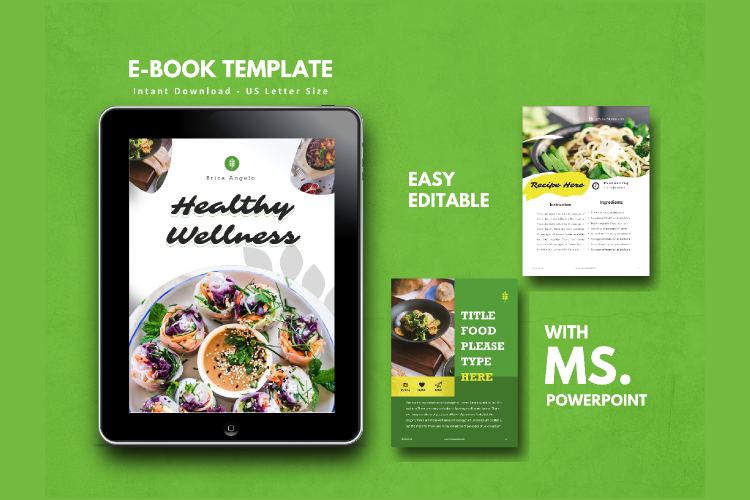Vegetarian Recipe eBook Template Theme PowerPoint example image 1