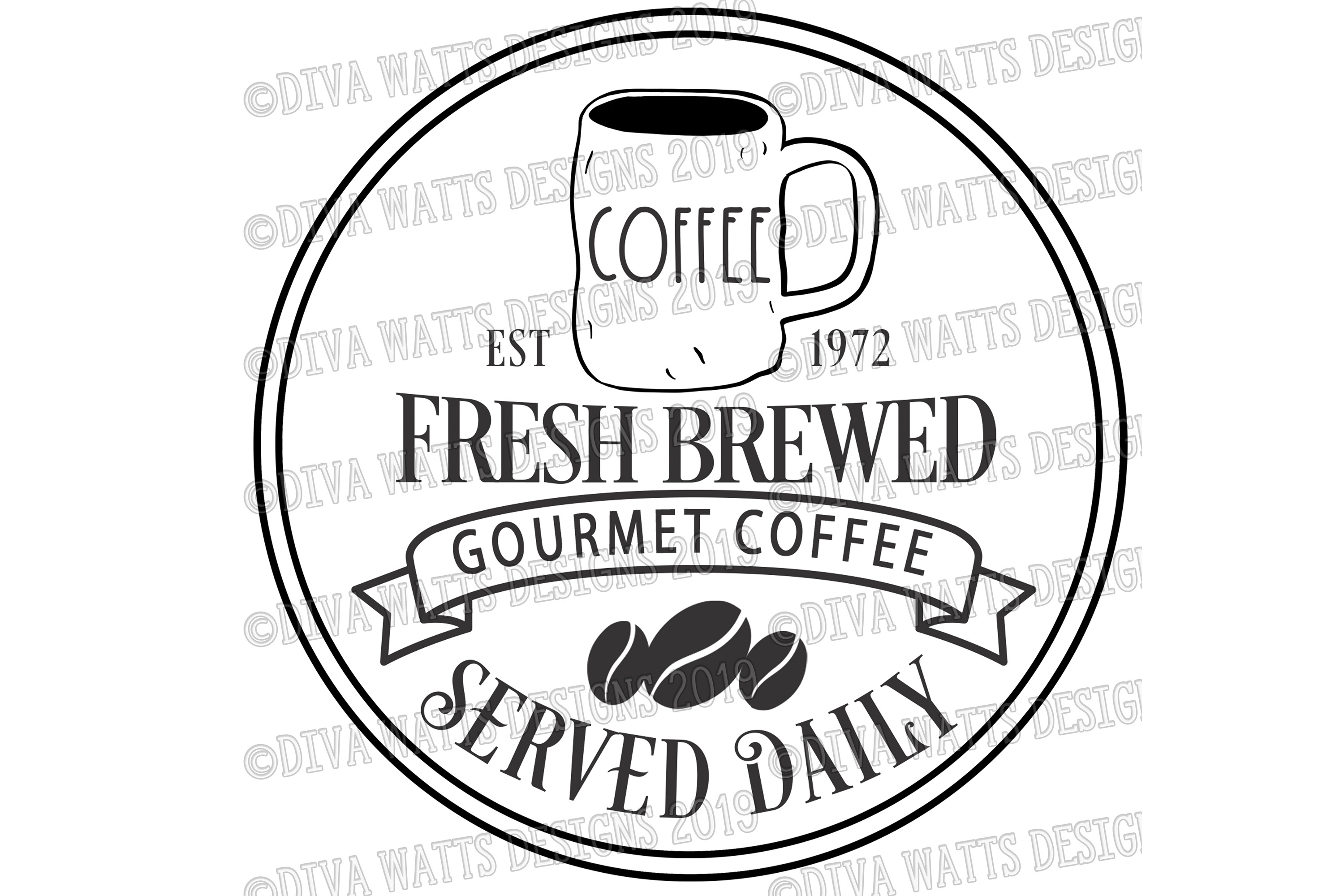 Fresh Brewed Coffee Farmhouse Sign with Lumpy Mug Coffee Bar example image 4