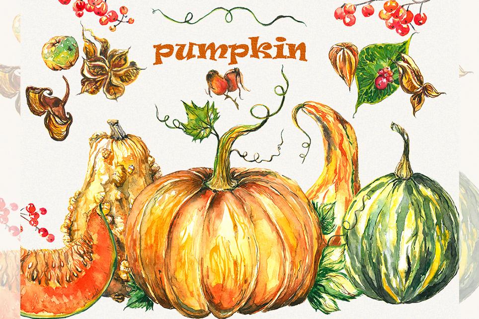 Pumpkin clipart, pumpkins clipart, watercolor pumpkin example image 2