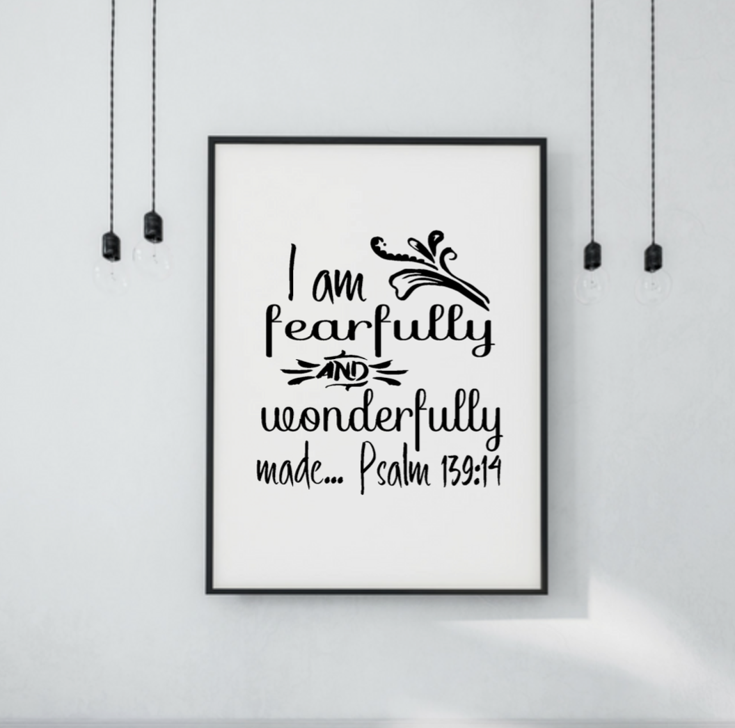 image relating to Printable Wall Decor referred to as I am fearfully and superbly generated Psalm 139:14 wall artwork Print Printable Wall Artwork Christian Religion Printable quotations dwelling decor