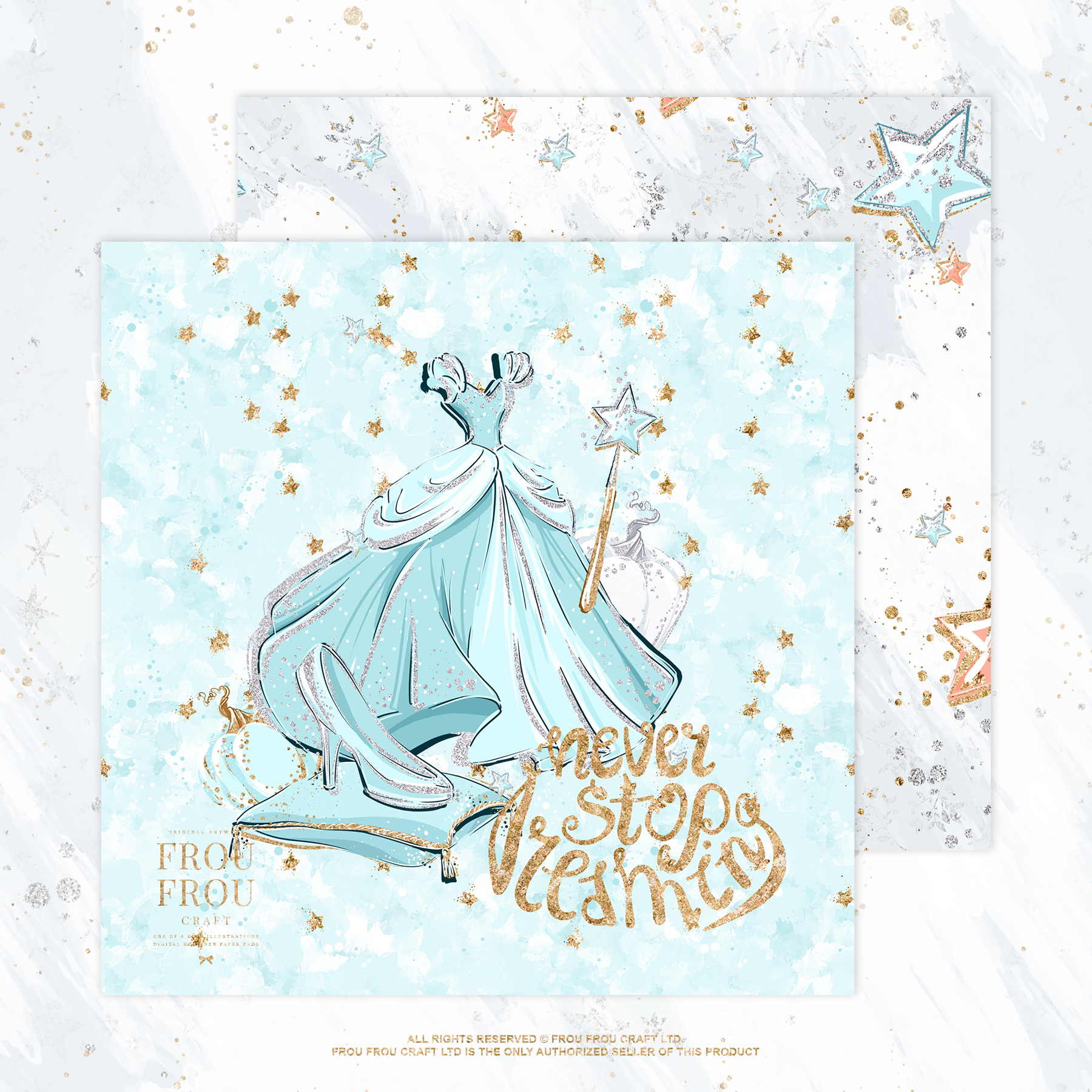 Princess Fairy Tale Gold Glitter Paper Pack example image 3