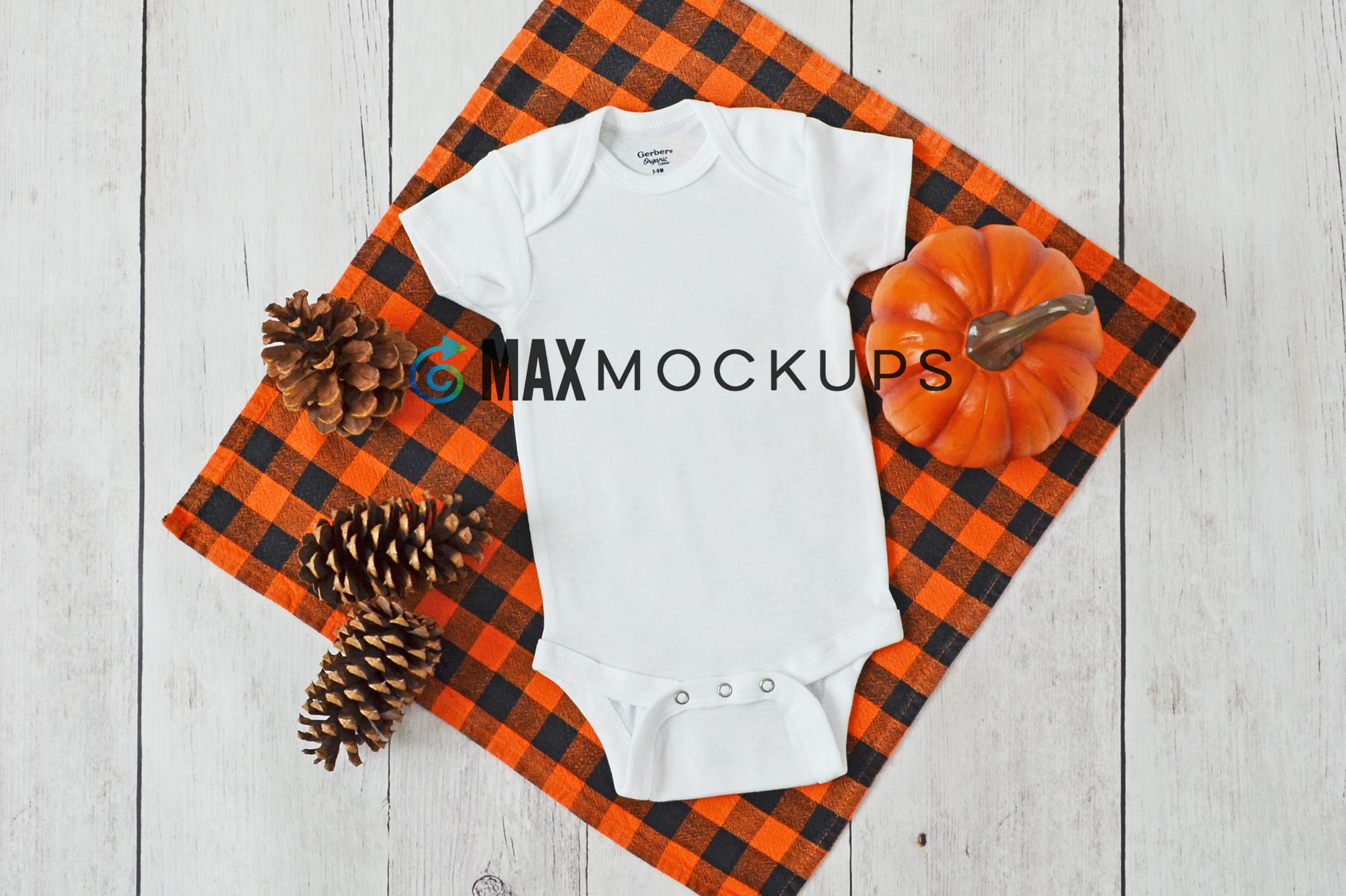Baby bodysuit Mockup, Fall Halloween pumpkin, flatlay stock example image 1