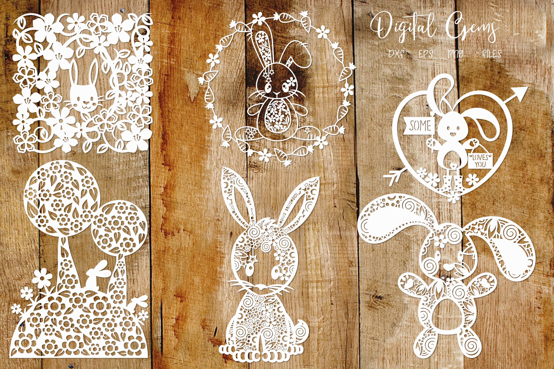 Easter / Rabbit paper cut Bundle SVG / DXF / EPS / PNG files example image 3