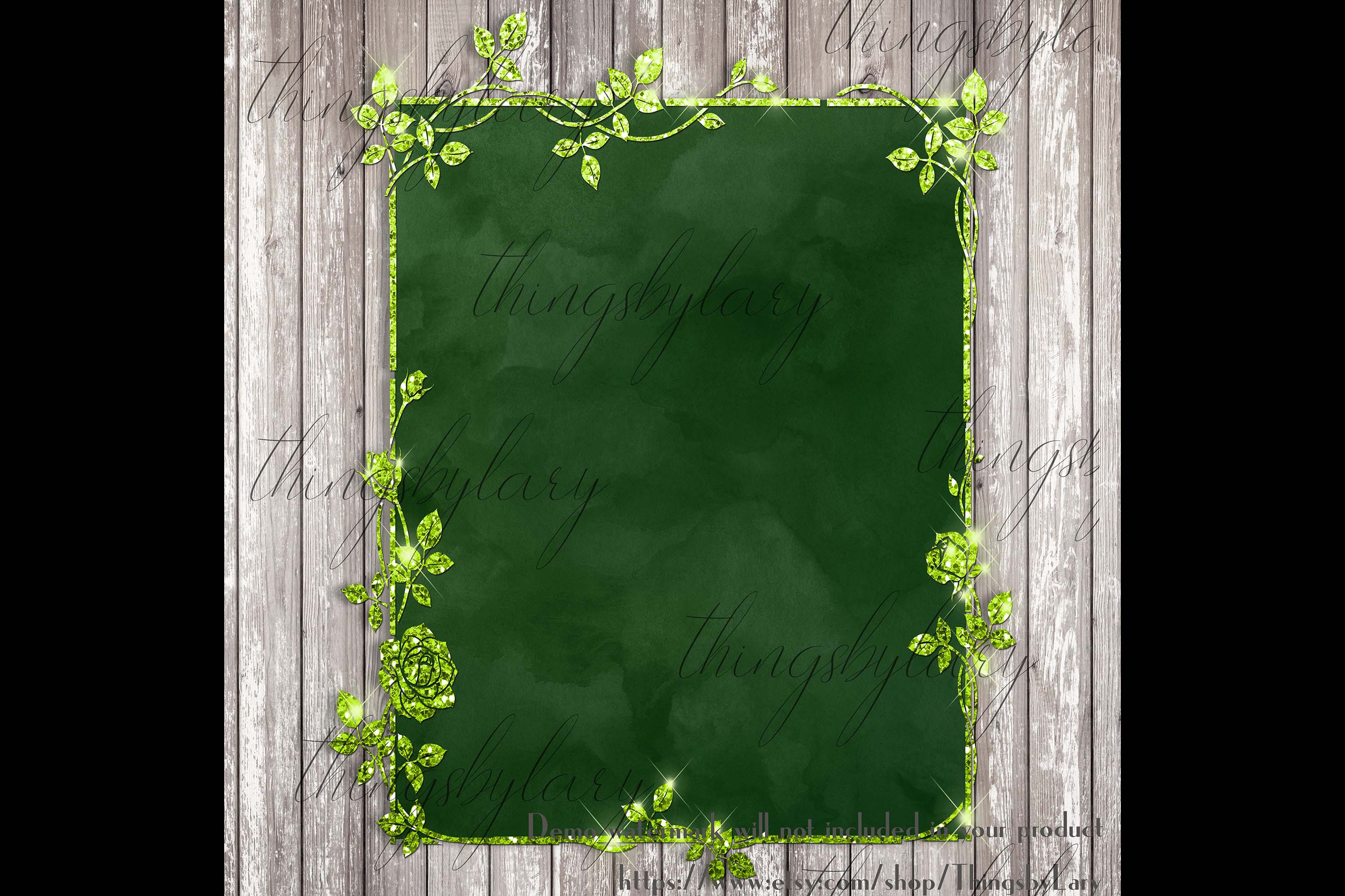 18 Glitter and Watercolor Leaf Branch Floral Frame Card example image 3