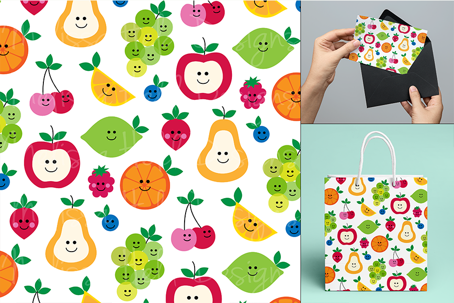 Fruit with Faces Graphics & Pattern example image 2