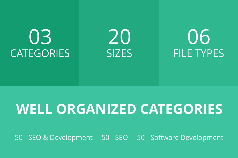 150 SEO & Development Flat Icons example image 3