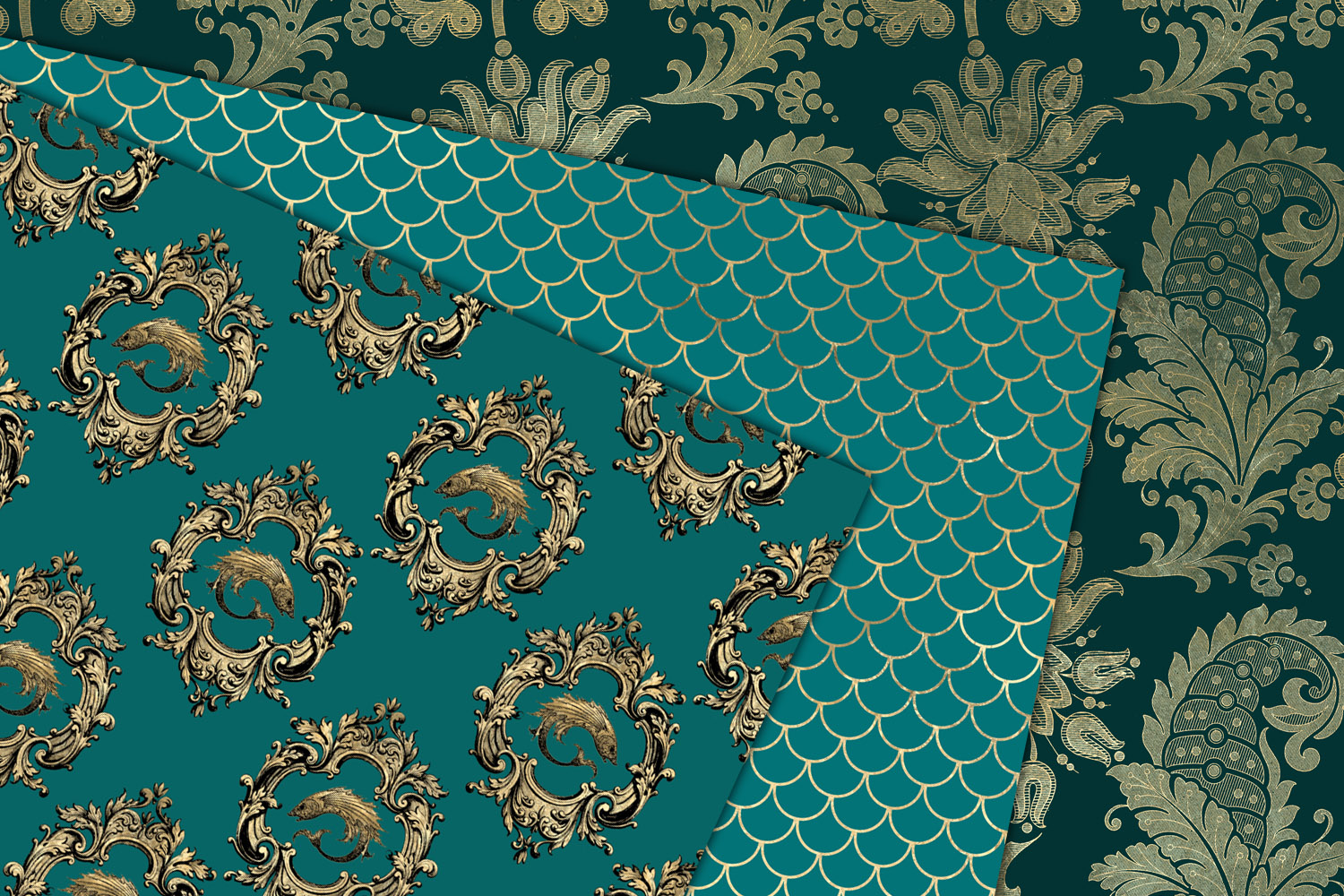 Teal and Gold Mermaid Digital Paper example image 2