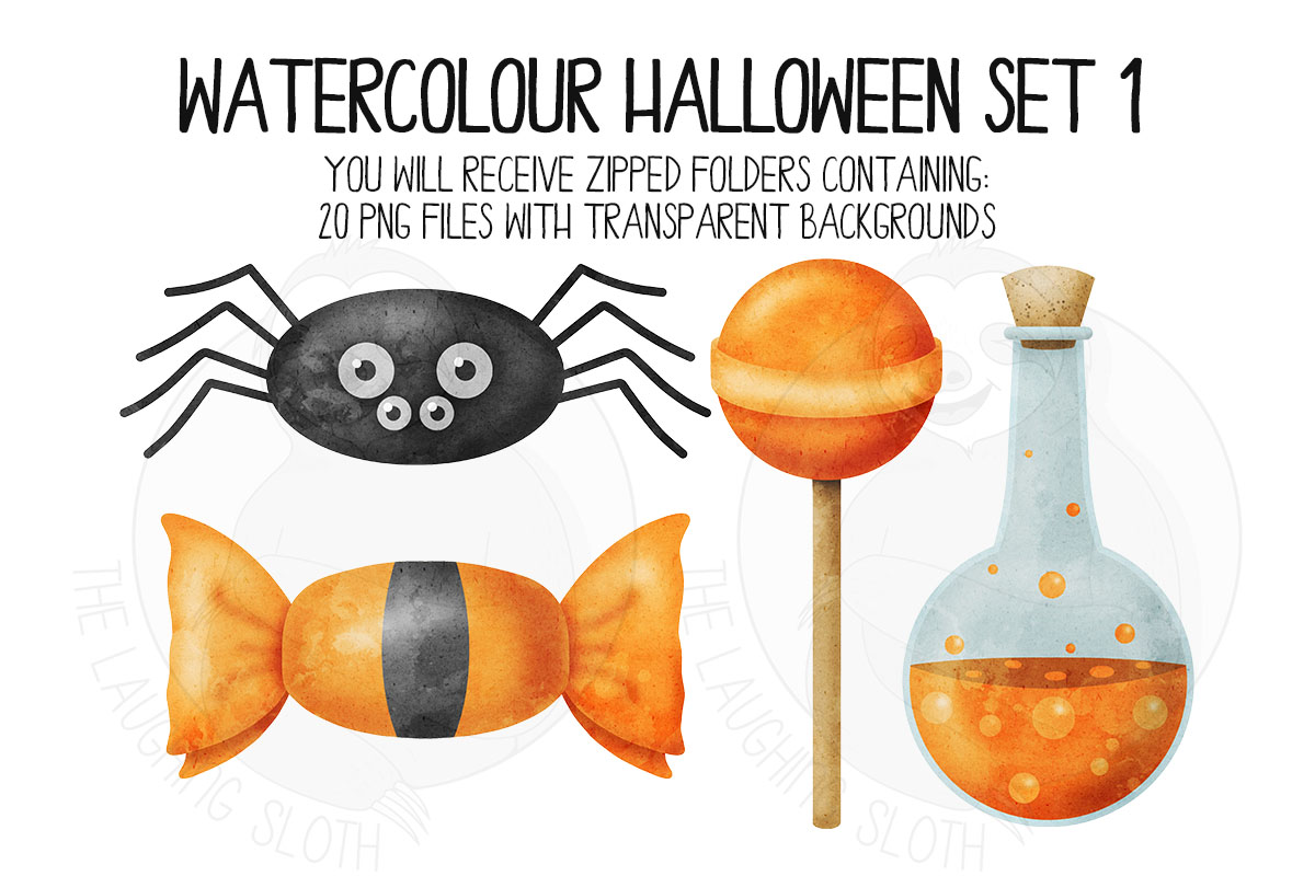 Watercolor Halloween Clip Art Set 1 example image 6