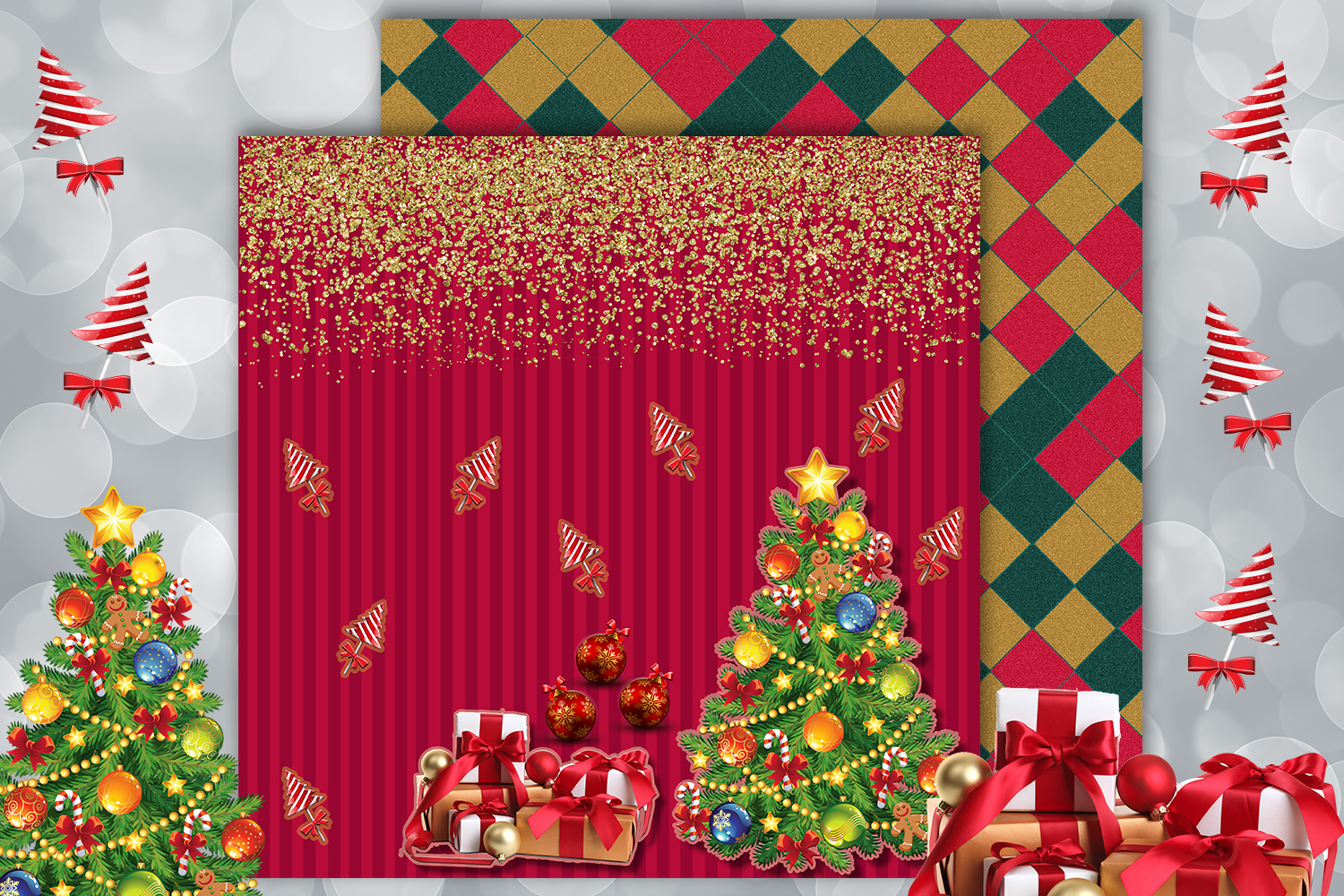 Christmas papers, jingle all the way, Scrapbook,BLACK FRIDAY example image 6