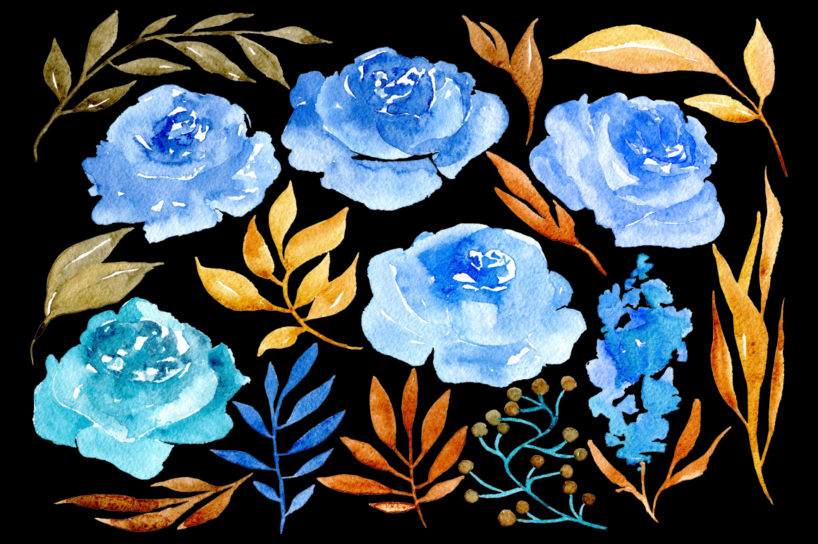 Blue watercolor flowers example image 3