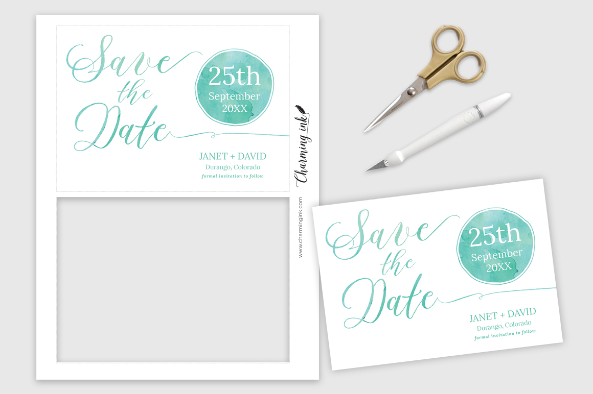 Watercolor Save the Date example image 2