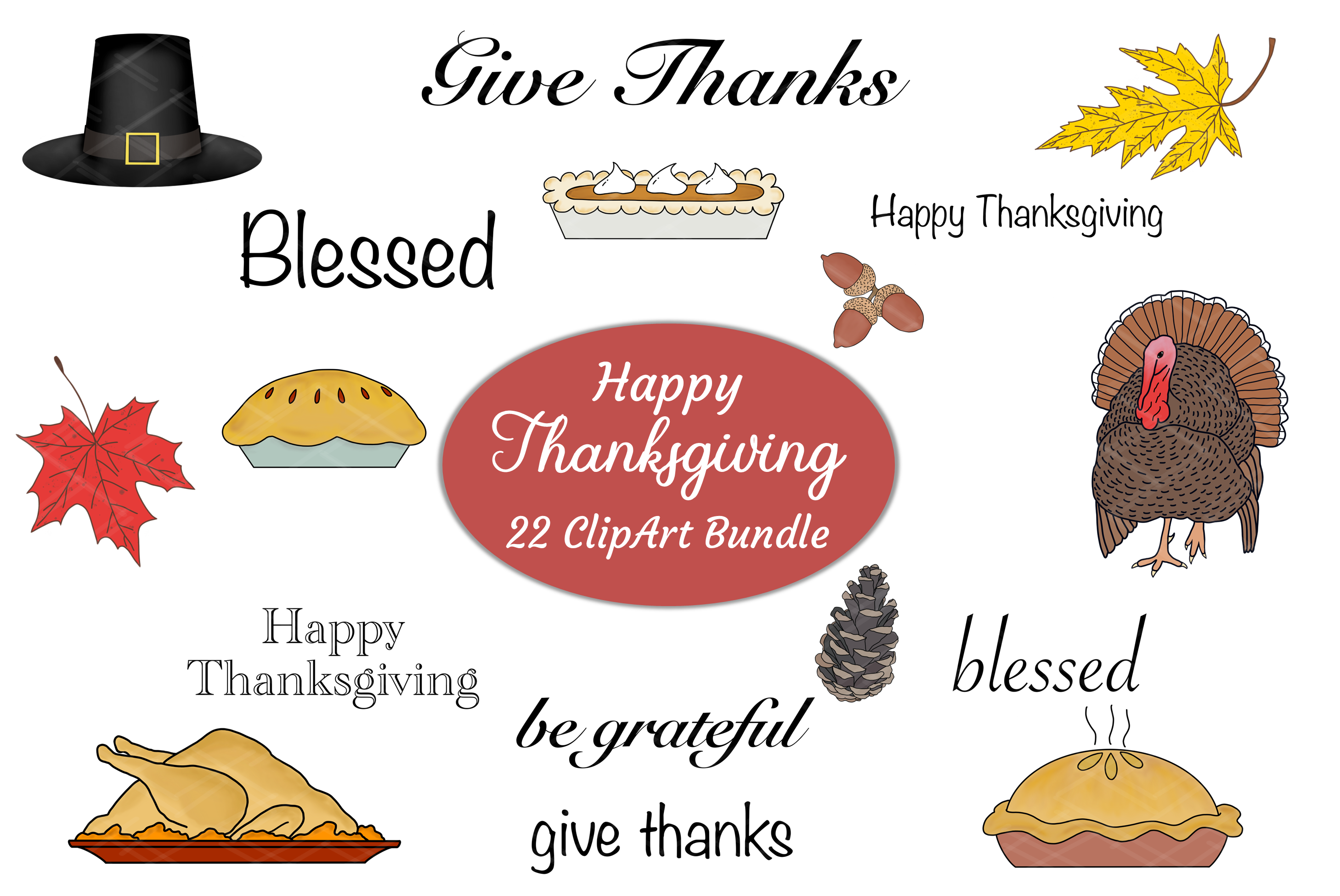 Thanksgiving Fall ClipArt Words Bundle Sublimation Transfer example image 1