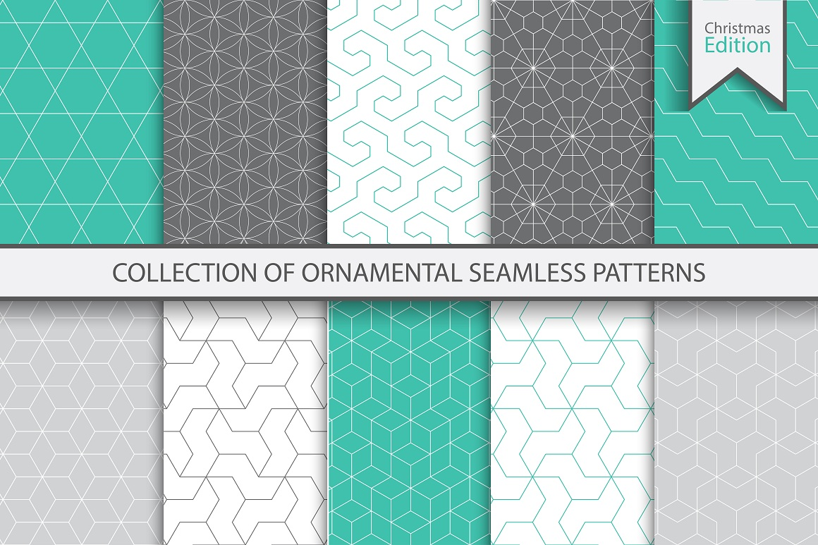 Ornamental color seamless patterns example image 1