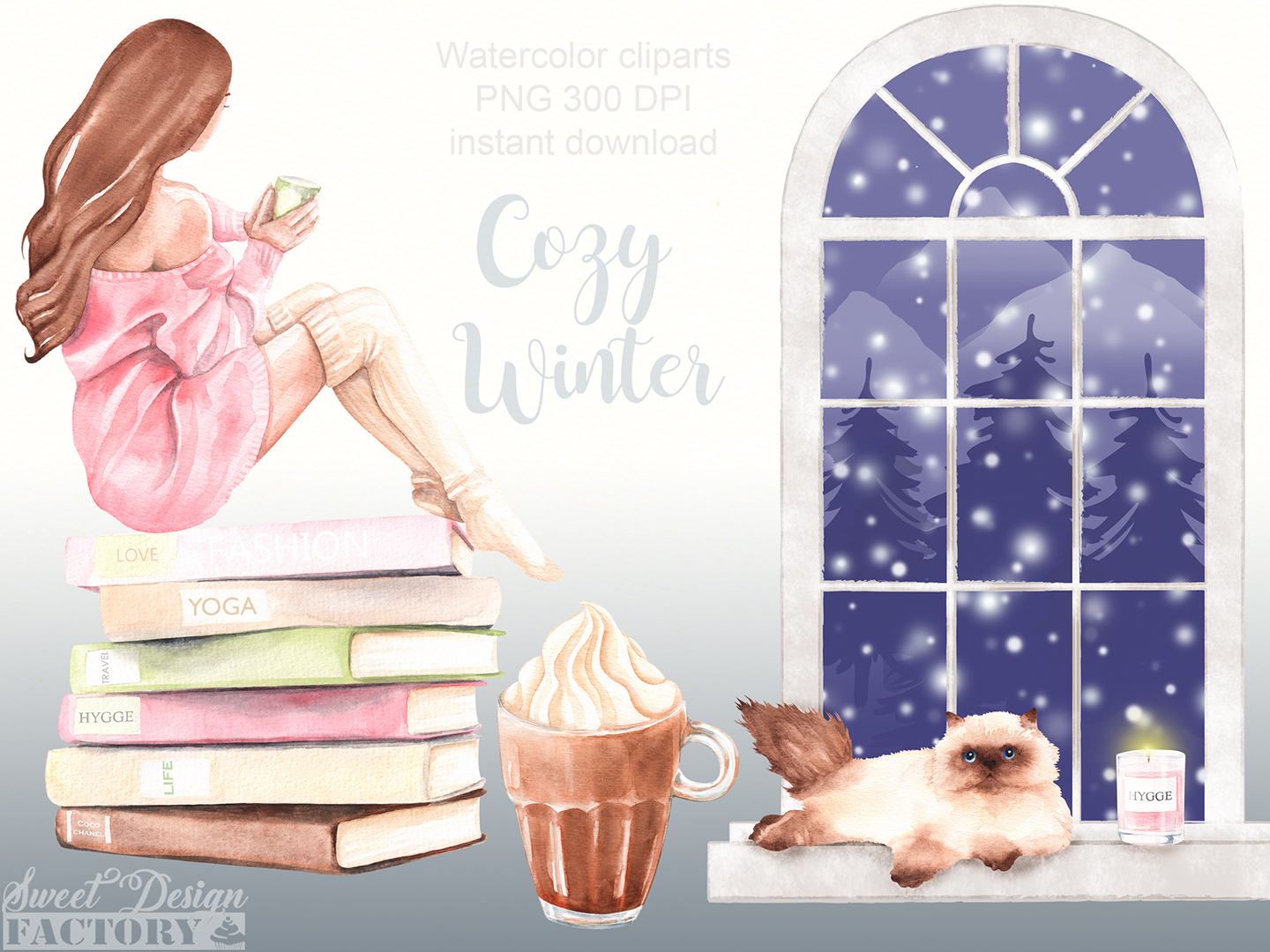 Cozy winter clipart. example image 2