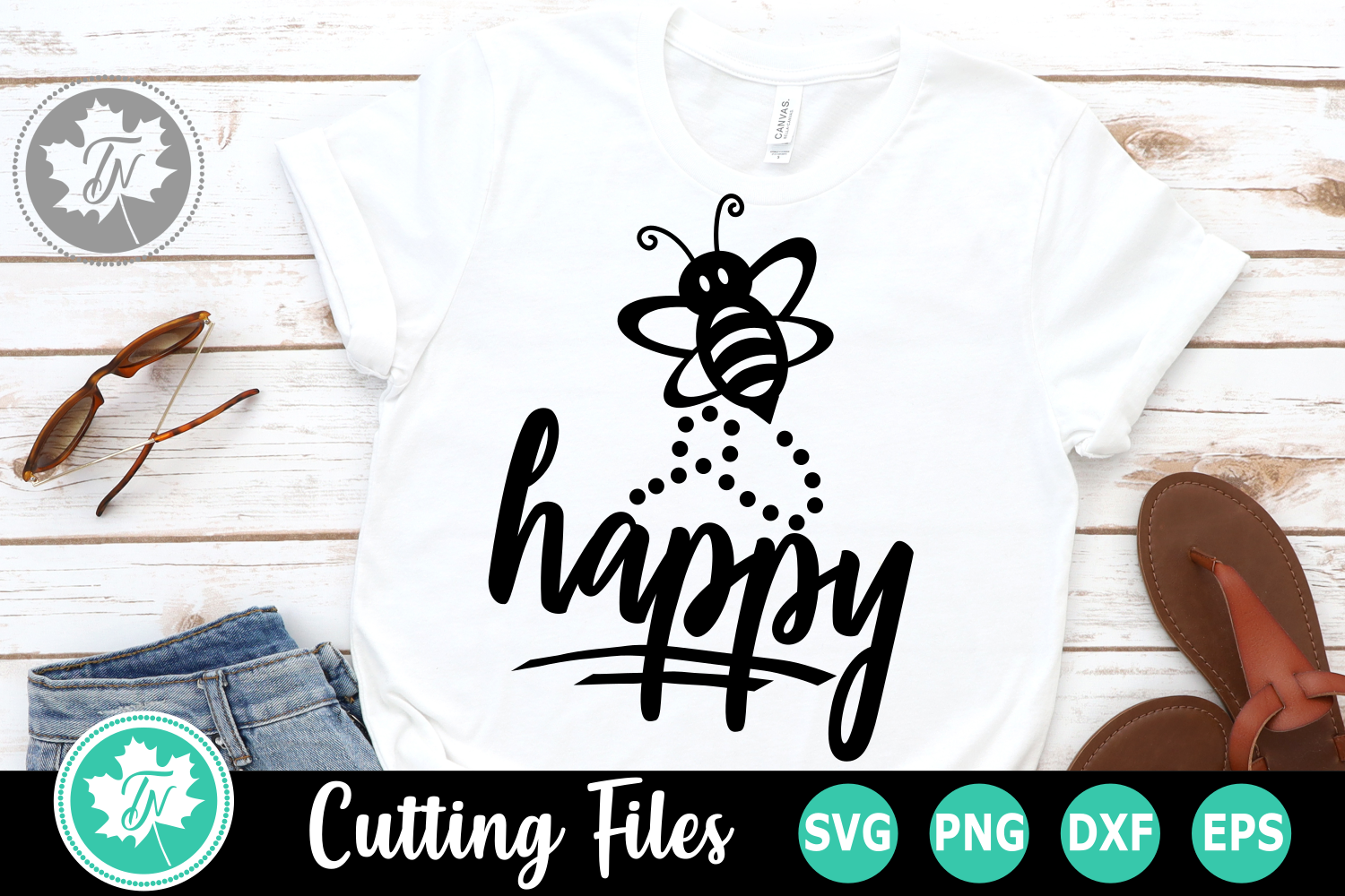 Bee Happy - An Inspirational SVG Cut File example image 1