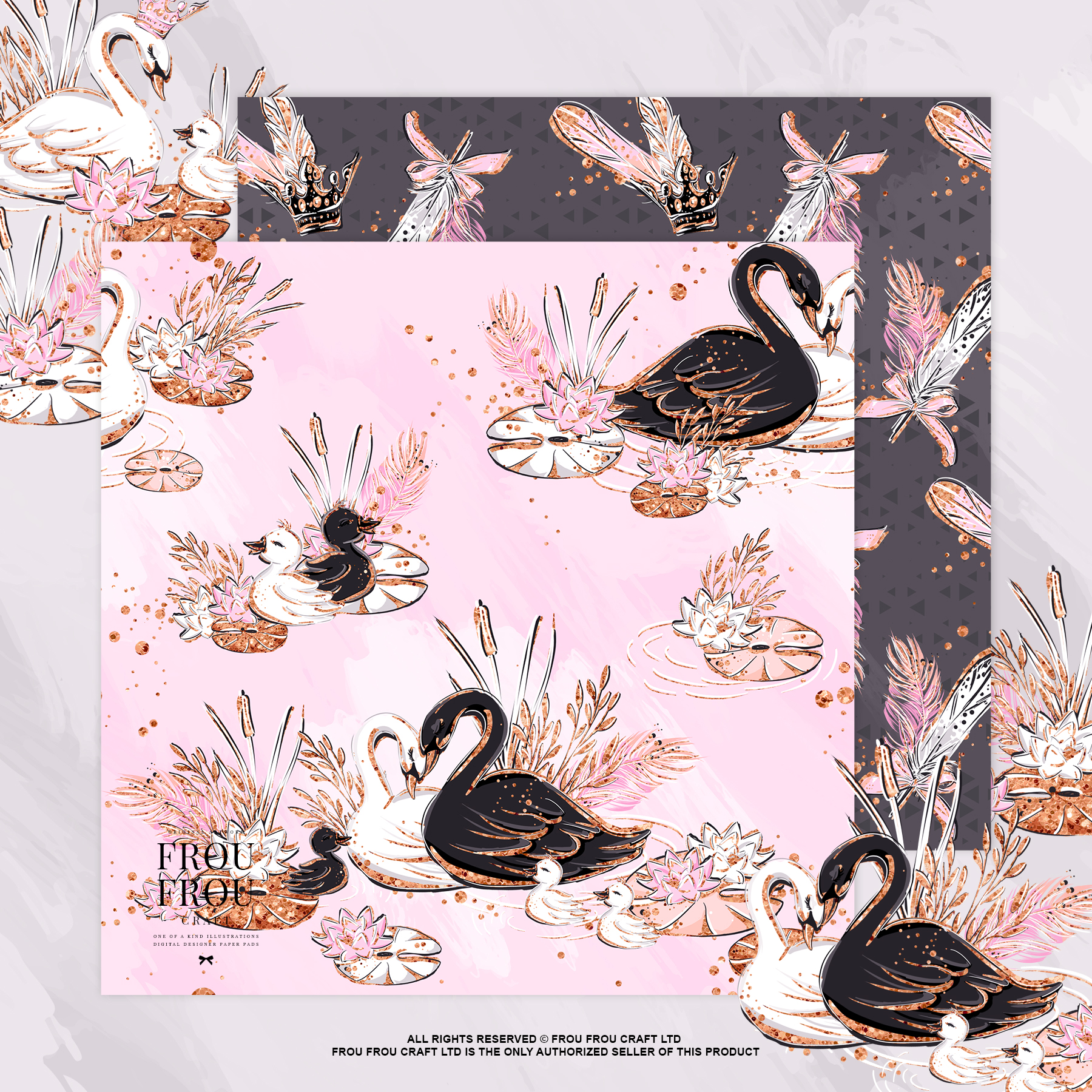Swan Rose Gold Glitter Nursery Paper Pack example image 4
