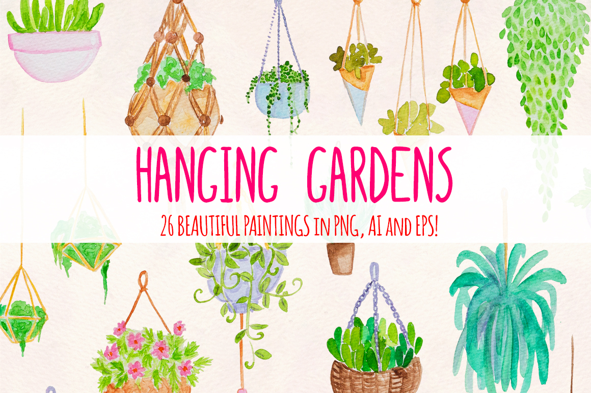 26 Hanging Plants Garden Watercolor Nature Illustrations example image 1
