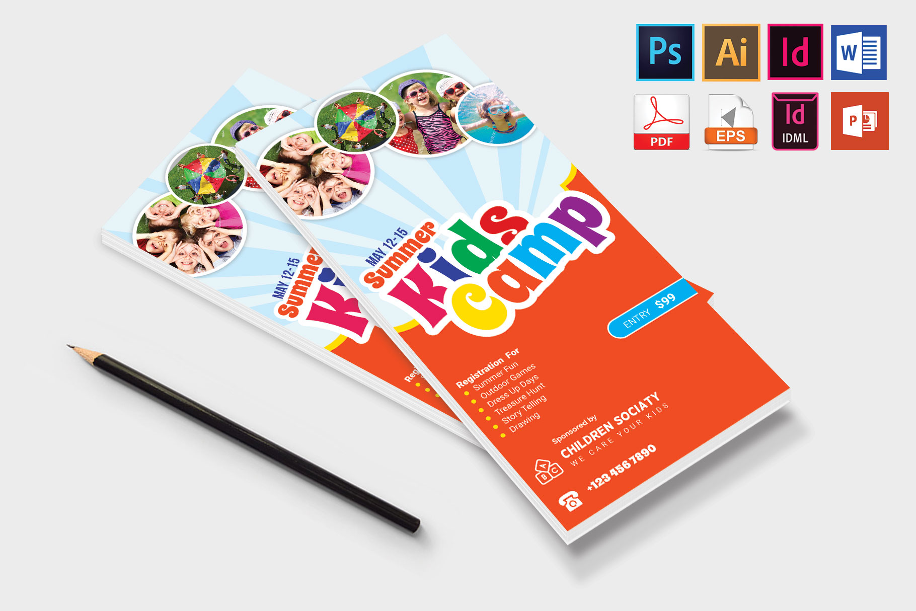 Rack Card | Kids Summer Camp DL Flyer Vol-2 example image 4