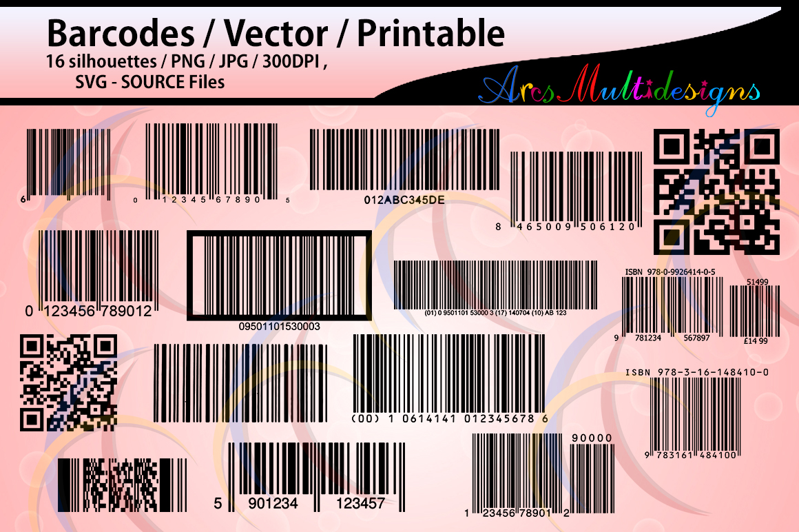 barcodes silhouette / 16 Barcodes / printable /High Quality / vector/ country codes / SVG / PNG / Jpg /DXf / EPs / bar code / code / script example image 1
